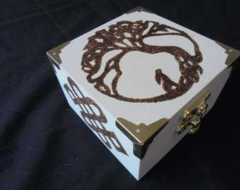 Tree of life with gazing hare small hand Pyrography box