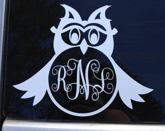 Monogrammed Owl Car Decal