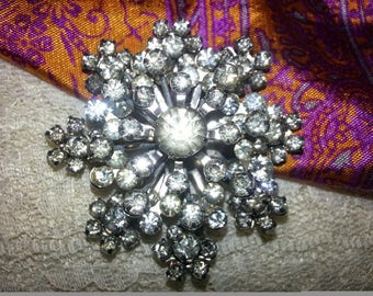 Layered Stacked Rhinestone Vintage Coro Brooch Pin
