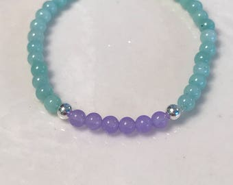 Aquamarine , purple jade , sterling silver - wisdom, balance, peace -calming & soothing