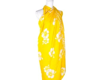 Women's Handmade Sarong with Hibiscus Flowers