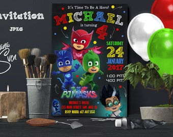 Pj Masks Invitation - Pj Masks Invite - Pj Masks Birthday - Pj Masks Party - Pj Masks Cards - Pj Masks Tags - Pj Masks Birthday Party
