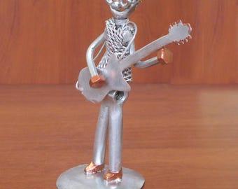 "Beautiful Hand-Made Metallic ""Guitar Player"" Figurine"