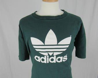 Vintage 80's Adidas Trefoil Green T-shirt size X-Large