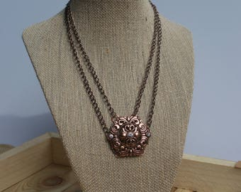 Bronze Glam Pendant with Double Chain