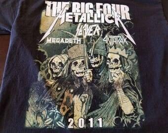 Big 4 Tour 2011 Sz L Shirt  METALLICA SLAYER MEGADETH Anthrax