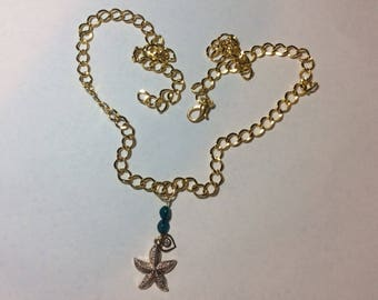 "For woman ""Starfish and his turquoise pearls"" necklace"