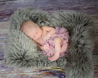 Digital background, newborn composing, nest, fur, instant download
