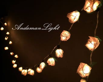 20 White  Rose Flower Fairy String Light Hanging Wedding Gift Party Patio Wall Floor Garden Bedroom String Lights Indoor Lights,Party Lights