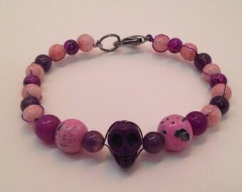 Purple Skull Wire-Wrapped Bracelet