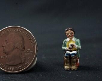 99 IRS China Figurine – Sitting Woman: vintage, pewter, miniature garden, fairy garden
