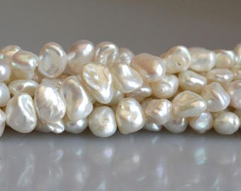 5 to 6 x 7 to 8 mm Natural White Keishi Freshwater Pearl Nugget Beads, White Nugget Pearl Beads, Natural White Freshwater Pearl (108-KW0508)