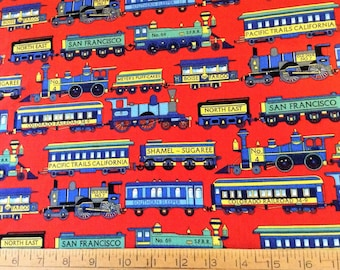Trains cotton fabric by the yard
