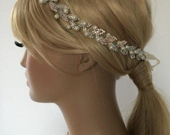 EXPRESS SHIPPING Ivory pearl and rhinestones headband, bridal headband, headpiece, wedding hairband