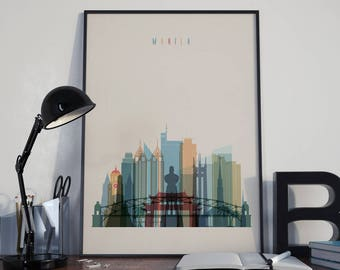 Manila Art Manila Watercolor Manila Wall Art Manila Multicolor Manila Print Manila Wall Decor Manila Poster Manila Home Decor Manila Photo