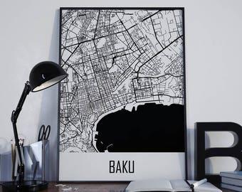 Baku Map Baku Travel Map Baku Street Map Baku City Map Baku Map Poster Baku Map Photo Baku Map Print Baku Map Art Baku Wall Art Azerbaijan