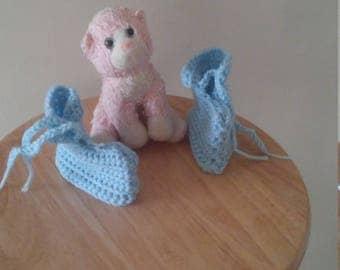 Light blue baby booties