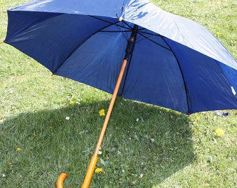 Blue Wedding / Function Rain Umbrella Parasol with Wooden Crook Handle and Automatic Opening / Bridesmaids Photo Shoots Special Occasions
