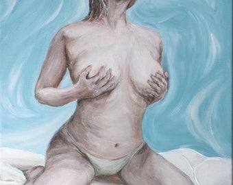 "Acrylic painting ""Blue act"", Ready to hang, Wall art canvas art, wall decor"