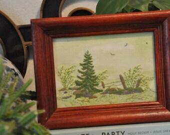Vintage Hand Embroidered Forest Scene, Embroidered Landscape