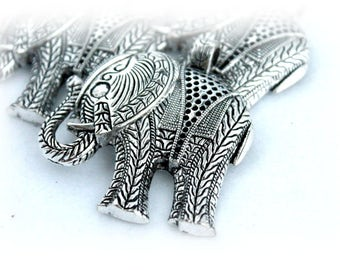 Large Silver Plated Charm Pendant/Charms/Large Elephant of 54x57 mm pack 3 pcs