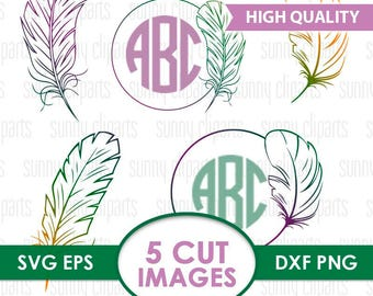 Feather Svg, Feather Monogram Svg, Feather Clipart, Bird Feathers Digital Files, Vintage Monogram, Vintage Svg, Svg File For Cricut, Eps Png
