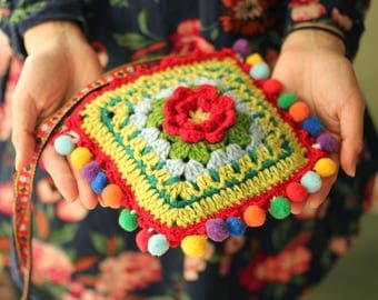 Granny Square Crossbody Bags,Crochet Floral Bag,everyday bag,Handy Purse,Crochet Shoulder Totes,Boho Bag,Sling Bags,Colorful,Knitted Bags.