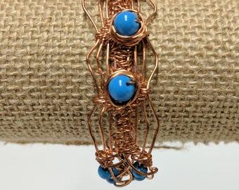 Periwinkle Beaded Copper Bracelet