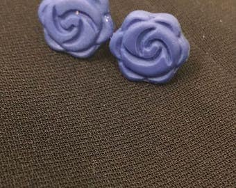 Blue Clay Flower Earrings