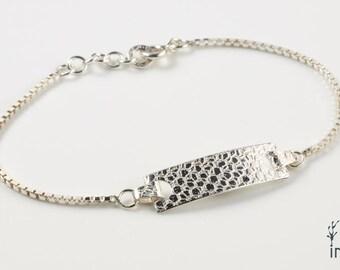 "Bracelet in Sterling Silver ""Taiga BR4"" rectangular module of 28 mm - by IrisBiu. Jewelry handmade in France."