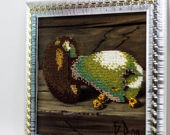 Beaded picture Mushroom Porcini Boletus hall kitchen decor gift beadwork embroidery bead art interior design decoration