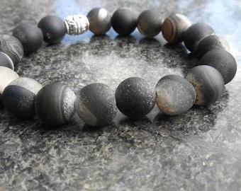Black and gray stone bead