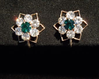 Earrings Made in Austria Gold Tone Star Setting with Green Crystal Center Surrounded by Clear Crystals Prong Set Vintage