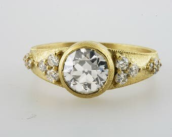 Old European Cut  Moissanite Engagement Ring in 18k Yellow Gold.Antique Vintage Style.