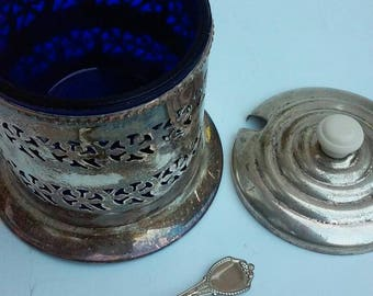 Vintage Sugar Bowl COBALT Blue Glass Celtic Quality Silver Plate