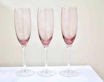 Vintage Raspberry Purple Glass Champagne Flutes - Set of 3