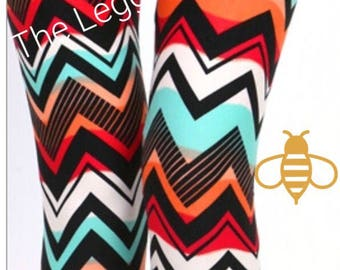 Multi Color Chevron Leggings Buttery Soft One Size S-XL