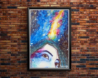 Dreams, Galaxies, watercolor art, art work, painting, portrait, stars, living room, bedroom, kitchen wall decor, homes and offices, wall art