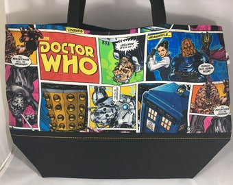 Doctor Who Comic strip market tote, reusable grocery bag