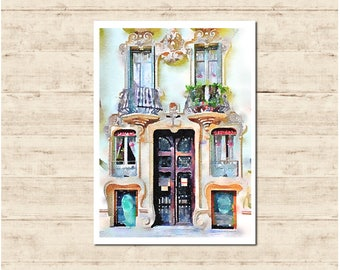 Beautiful Door Barcelona Watercolour Painting Postcard Poster Art Print Q161