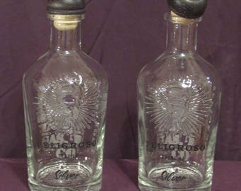 2 Peligroso Tequila Bottles with cork upcycled/recycled glass bottles.