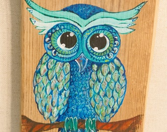 Hand Painted Owl on Wood