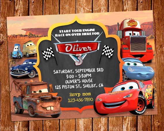 Cars Invitation Card Template Free: Disney Cars Invitation Disney Cars Birthday Party Invite