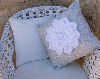 Felt Flower Cushion Cover - White