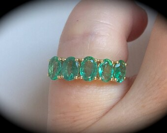 Emerald & Diamond Ring 9ct Yellow Gold Size L  'Certified 1.81ct'  Exquisite Colour!