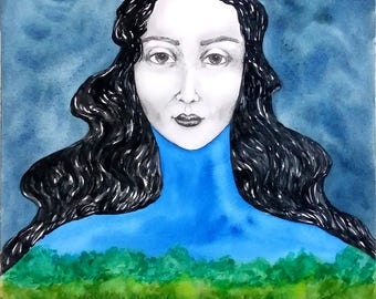 Mix media Print, Watercolor and pencil original art, woman surreal portrait