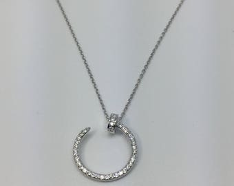 Silver 925 necklace with silver crystal circle pendant