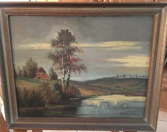 "Vintage oil painting, ""Landscape in Northern Germany"""
