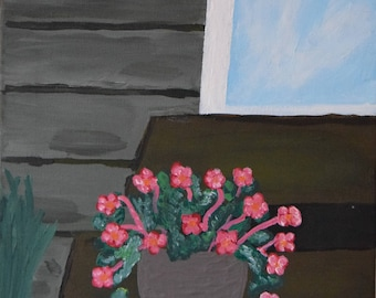 Flower on the stairs