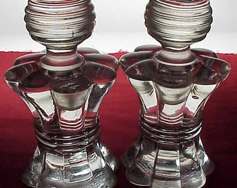 Pair Perfume Bottles & Stoppers Vintage Clear Crystal Glass Hour Glass Design - WOW!